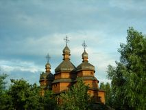 Ukrainian Cossack Wooden Church . stock photo