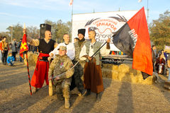 Ukrainian Cossacks and fighter of right sector pose for photo du. Saksagan, Ukraine - October 17, 2015: Ukrainian Cossacks and fighter of right sector pose for Royalty Free Stock Photography