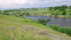 Ukrainian country landscape with small river. Sura at summer season stock video