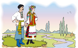 Ukrainian Couple In Colorful National Costumes Royalty Free Stock Photos