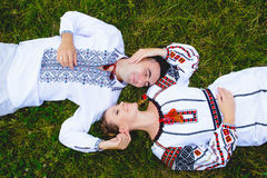 Ukrainian Couple in Traditional Clothes Stock Image