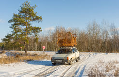 Ukrainian craftsman transports his handmade furniture on a roof of own automobile Stock Photos