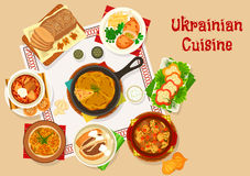 Ukrainian cuisine lunch dishes icon design Royalty Free Stock Image
