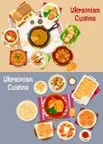 Ukrainian cuisine restaurant dinner icon set design Royalty Free Stock Photo