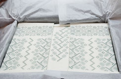 Ukrainian cutwork embroidery Stock Photo