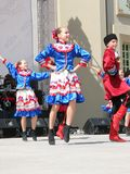 Ukrainian dance. ISTANBUL - APRIL 23: Unidentified 12 years old Ukrainian children in traditional costume perform folk dance during National Sovereignty and Stock Images