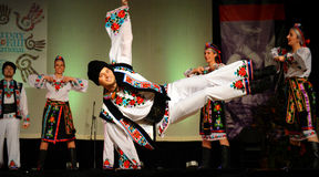 Ukrainian Dancer Doing Stunt Royalty Free Stock Photos