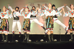 Ukrainian Dancers Jumping Stock Photography