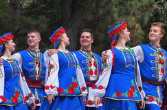 Ukrainian Dancers. In traditional dress at Canada celebration in Edmonton Alberta July 1, 2015 Stock Images
