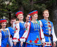 Ukrainian Dancers. In traditional dress at Canada celebration in Edmonton Alberta July 1, 2015 Royalty Free Stock Image