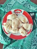 Ukrainian dish Varenyky. Food, tasty,plate, dinner,traditions, national dishes stock photography