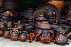 Ukrainian dishes of ceramics. Ukrainian dishes made of ceramics. pottery. souvenirs Royalty Free Stock Image