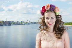 Ukrainian on the Dnieper in Kiev in a wreath of flowers Stock Photos