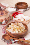 Ukrainian dumplings with stewed cabbage Stock Image