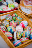 Ukrainian Easter eggs. In a basket Stock Images
