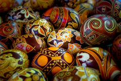 Ukrainian Easter Eggs - pysanka. Close up of painted Easter eggs in the Ukrainian tradition. Eggs with bright colors and authentic designs Royalty Free Stock Photo