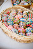 Ukrainian Easter eggs. On the rope Stock Images