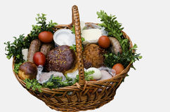 Ukrainian Easter food basket. Stock Photo