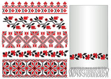 Ukrainian embroider flowers. There is a scheme of ukrainian pattern for embroidery Royalty Free Stock Photo