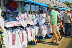 Ukrainian embroidered clothes on Sorochintsy Fair in Velyki Sorochyntsi, Ukraine. Velyki Sorochyntsi -August 20, 2016: Ukrainian embroidered clothes on stock photo