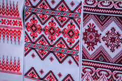 Ukrainian embroidered towel royalty free stock image