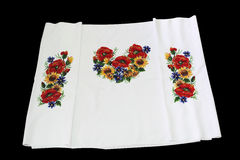 Ukrainian embroidery. Embroidery beads. Pattern of flowers stock photos
