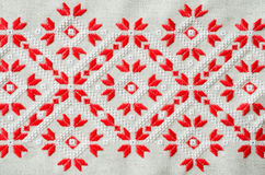 Ukrainian embroidery folk pattern ornament. Design of ethnic textures. Embroidered element by red and white threads. Royalty Free Stock Photo