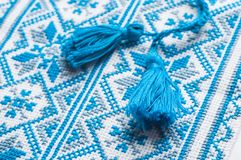 Ukrainian embroidery a fragment of male shirts.  royalty free stock photos