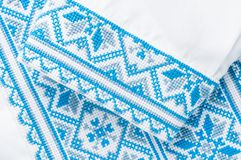 Ukrainian embroidery a fragment of male shirts.  royalty free stock photography