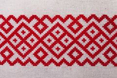 Ukrainian embroidery ornament red white Stock Image
