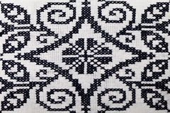Ukrainian embroidery pattern , black and white Royalty Free Stock Photo