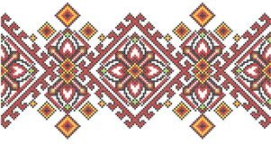 Ukrainian ethnic style cross stitch embroidery geometric pattern. Vector illustration Stock Photography