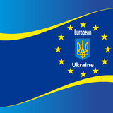 Ukrainian and European flag. Stock Images