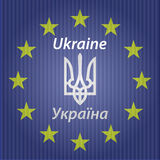 Ukrainian and European flag. Stock Image
