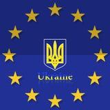 Ukrainian and European flag. Royalty Free Stock Photo