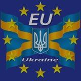Ukrainian and European flag. Royalty Free Stock Images