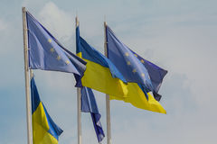 Ukrainian and European Union flags Royalty Free Stock Photos