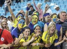 Ukrainian fans Stock Photography