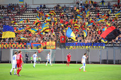 Ukrainian fans with the flags on the stand Royalty Free Stock Photo