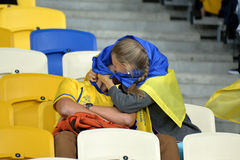 Ukrainian fans are kissing during the match Royalty Free Stock Photos