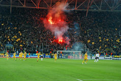 Ukrainian fans lit a fire in the stands Stock Image