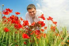 Ukrainian farmer on the field Royalty Free Stock Photo