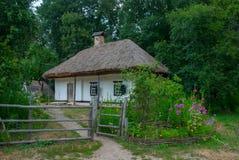 Ukrainian farmhouse of the nineteenth century, Pyrohiv, Ukraine. Courtyard and Ukrainian peasant family home of the nineteenth century, National Museum of Folk royalty free stock photo