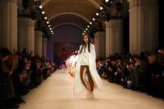 Ukrainian Fashion Week AW 2017/18: collection by GASANOVA. KYIV, UKRAINE - FEBRUARY 7, 2017: Models present a creation by designer Elvira GASANOVA during 40th Stock Image