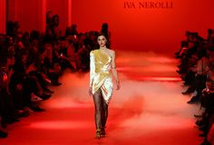 Ukrainian Fashion Week FW18-19: collection by Iva Nerolli. KYIV, UKRAINE - FEBRUARY 5, 2018: Models present a creation by designer Iva Nerolli during 42nd royalty free stock image