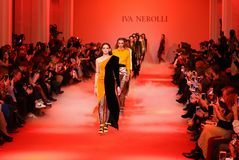 Ukrainian Fashion Week FW18-19: collection by Iva Nerolli. KYIV, UKRAINE - FEBRUARY 5, 2018: Models present a creation by designer Iva Nerolli during 42nd stock photography