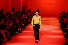 Ukrainian Fashion Week FW18-19: collection by Iva Nerolli. KYIV, UKRAINE - FEBRUARY 5, 2018: Models present a creation by designer Iva Nerolli during 42nd royalty free stock photos