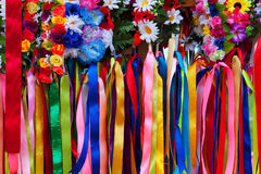 Ukrainian female head-dress garlands and ribbons Royalty Free Stock Photo
