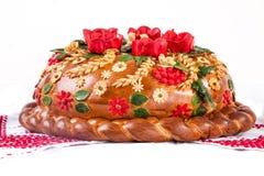 Ukrainian festive bakery Holiday Bread on white. Ukrainian festive bakery Holiday Bread isolated on a white background Stock Images