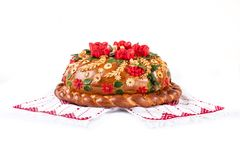 Ukrainian festive bakery Holiday Bread on white Stock Images